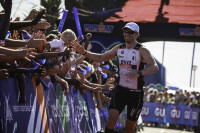 Swiss triathlon athlete Ronnie Schildknecht wins the Ironman in South Africa