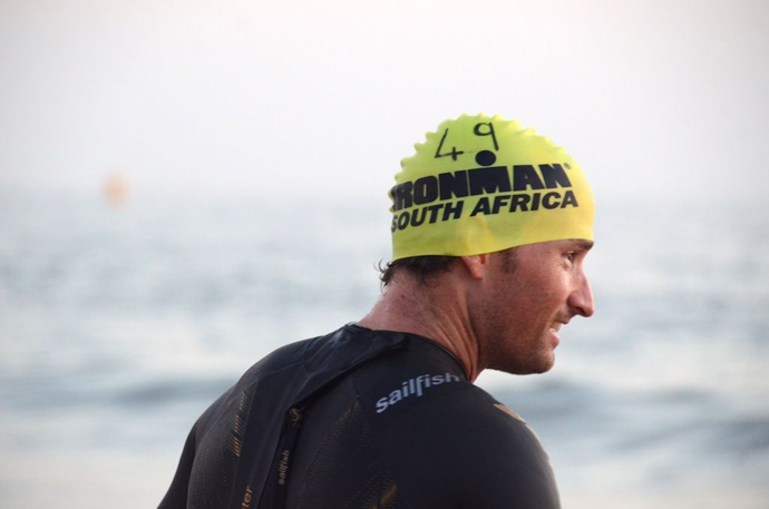 Ronnie Schildknecht at the Ironman in South Africa - the swim competition - credit IMSA2013