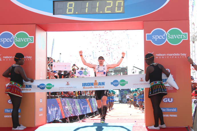 Ronnie Schildknecht at the finish line in South Africa - credit Craig Muller