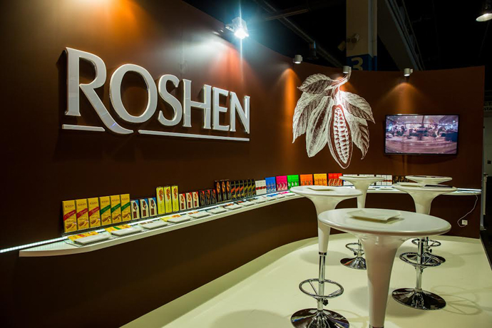 Roshen stand at the Salon du Chocolat in Zurich - Ukranian chocolate brand - copyright Roshen