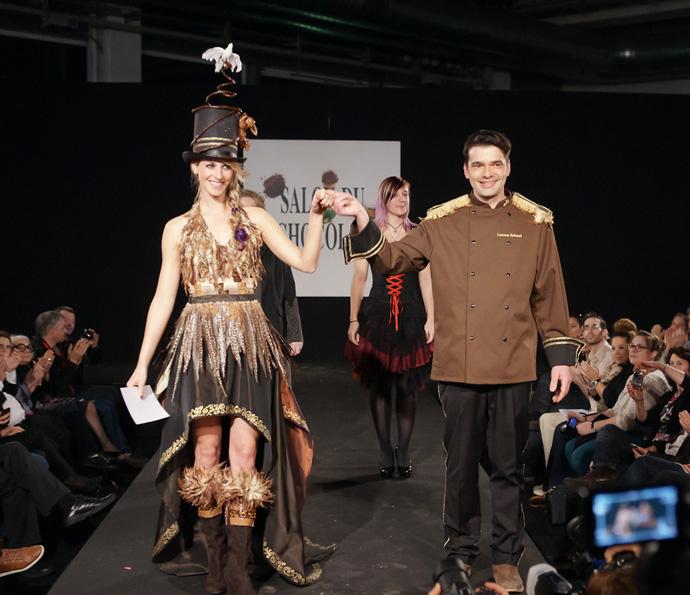 Maitre chocolatier Laurent Robatel in Zurich with Villars model, Yvonne at the Salon du Chocolat - copyright Nicolas Rodet