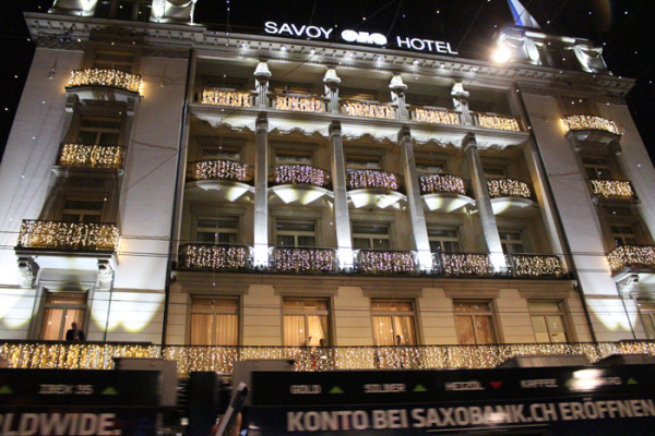 Savoy Hotel when the Christmas lights are turned on - copyright Veronique Gray
