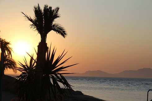 A sunrise in Sharm el Sheikh with views of Tiran island