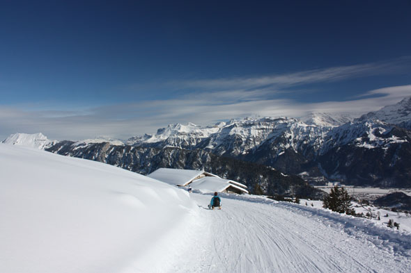 Sledging down from Niederhorn