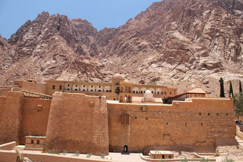 The St. Catherine Monastery near Moses Mountain in the Sinai desert