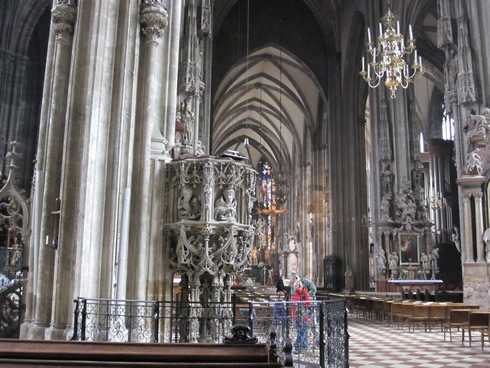 Inside of St Stephen's with Gothic pulpit on the left