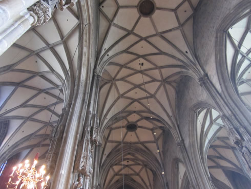 Inside of St Stephen cathedral and the three naves