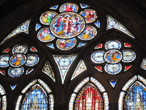 Various stainglass windows at the Strasbourg cathedral