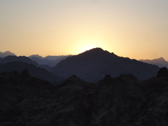 Sunset over the Sinai Mountains near Sharm during a camel trip