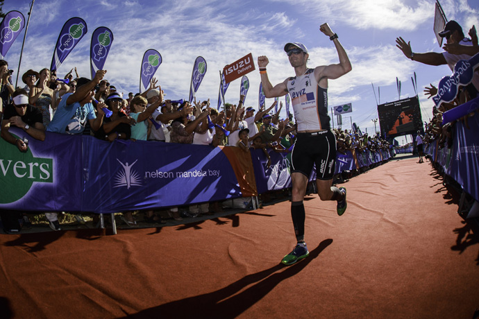 Swiss Ronnie Schildknecht arriving at the Ironman in South Africa - credit Chris Hitchcock