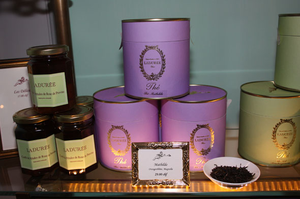 Teas and jams in Ladurée shop in Zurich