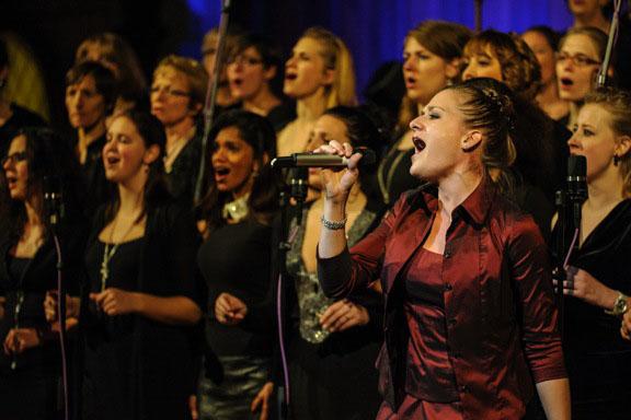 The gospel and soul choir singing at the buehl church in wiedikon