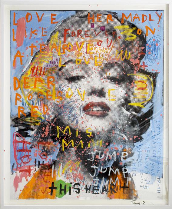 Troy Henriksen -Marilyn Love Her Madly- Acrylique Et Mixte Sur Papier -176x146cm-2012 copyright Troy Henriksen
