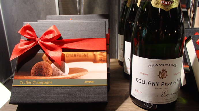 Truffes with Champagne from Suteria and bottles of Colligny Père & Fils Brut Champagne - copyright Véronique Gray