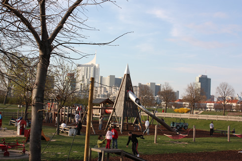 Large playground on the Donau island