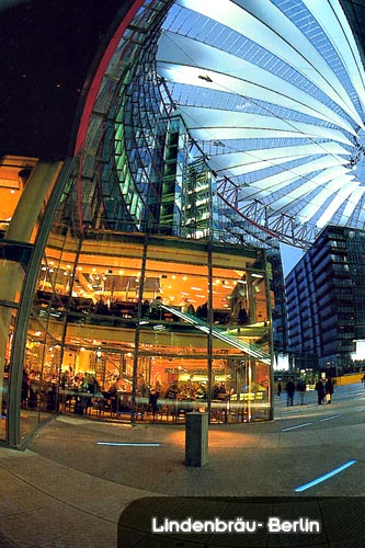 View of Lindenbräu restaurant, taken outside, Sony Center, Potsdamer Platz Berlin