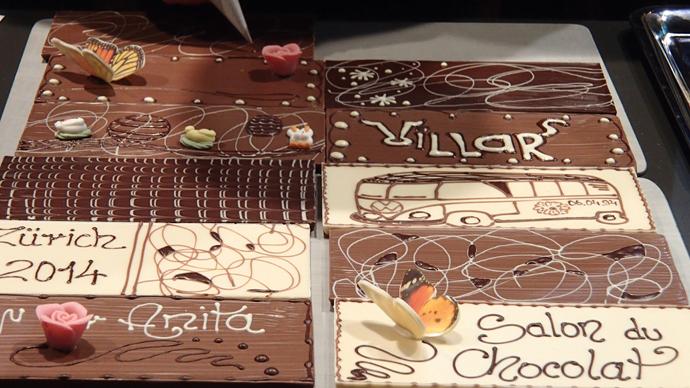 Villars tablets at the Salon du Chocolat - copyright Veronique Gray