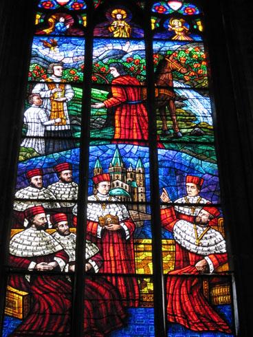 Votiv church stainglass window in Vienna
