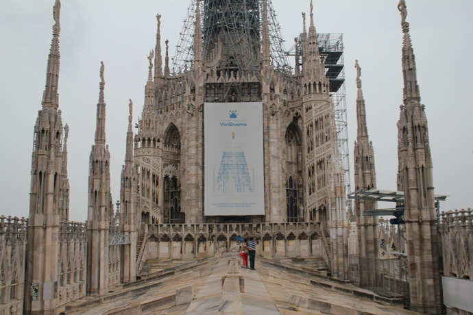 Walking on Milan cathedral's roof on a rainy morning