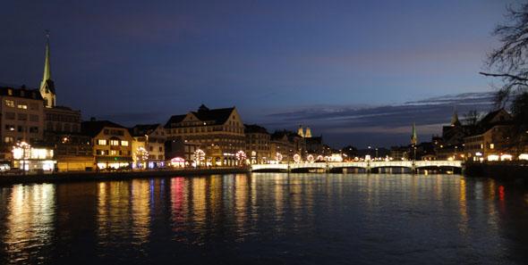 Zurich by night late december
