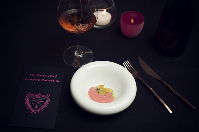 at the table during the 5 course menu of chef Nenad Mlinarevic - copyright Moet Hennessy