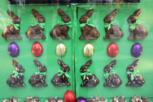 Easter eggs and rabbits in shop windows in Vienna