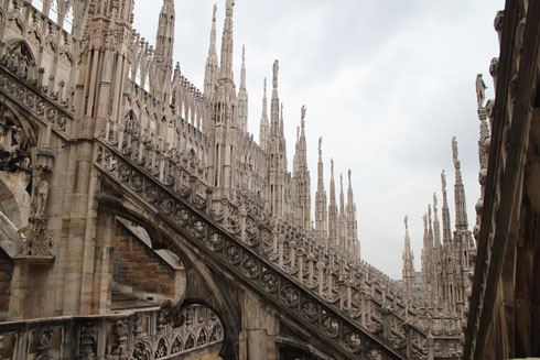Flying buttresses and spires from the terrace of Milan cathedral