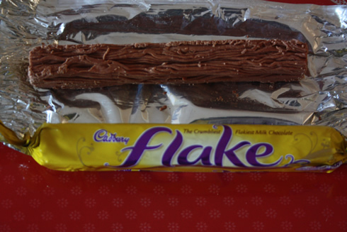 Flake inside and out of its wrapping paper