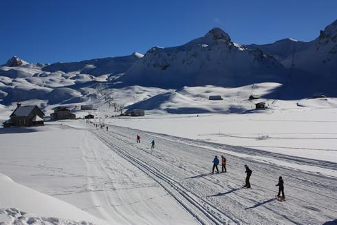 Skiiers in Melchsee-Frutt