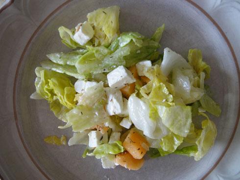 Melon and feta salad on a plate
