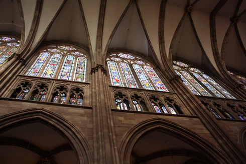 Ogives, triforium and stainglass windows, Strasbourg Cathedral