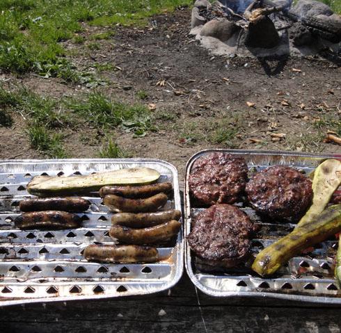 sausages and hamburgers at the lake