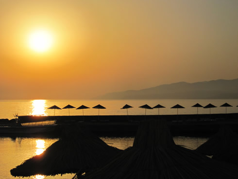 Perfect sunrise on Nana Beach in Crete near Chersonissos