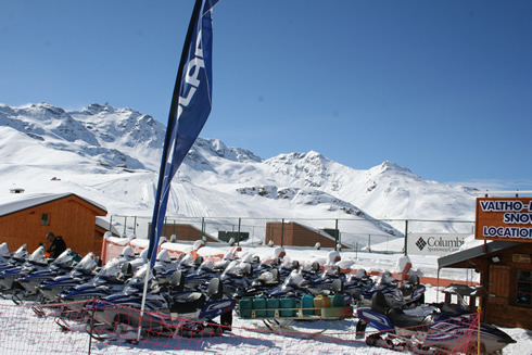 Snowmobiles in Val Thorens village