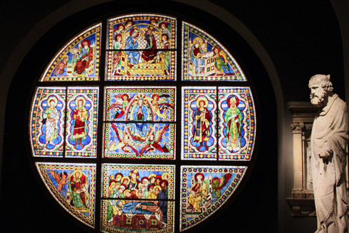 Stain glass window of the Cathedral of Siena