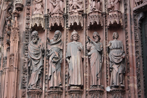 Strasbourg cathedral main facade and statues