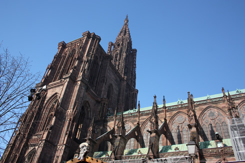 Strasbourg cathedral from outside, side of Rohan Palace
