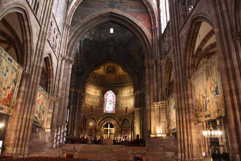 Strasbourg Cathedral - nave and illuminated choir