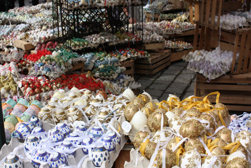 Viennese colorful Easter eggs at AltWiener market