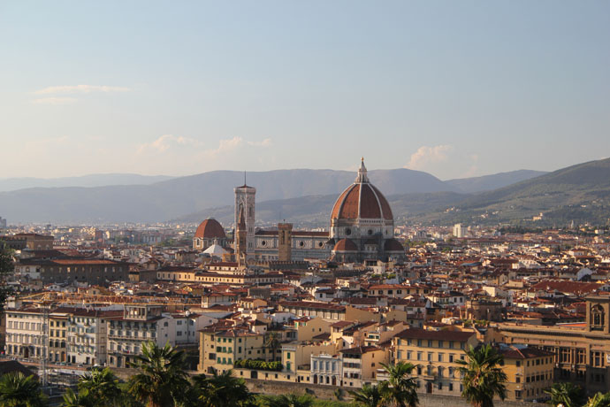 view of the cathedral of Florence from the Michelangelo square