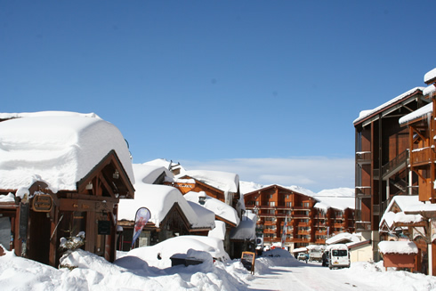 Village of Val Thorens after snow fall
