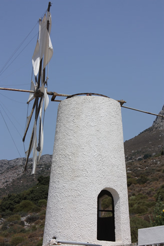 Decorative windmill in Dikte Mountain, driving to the Lassithi Plateau