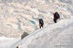 Climbers going down Aiguille du Midi